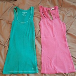 Teal and pink tanks